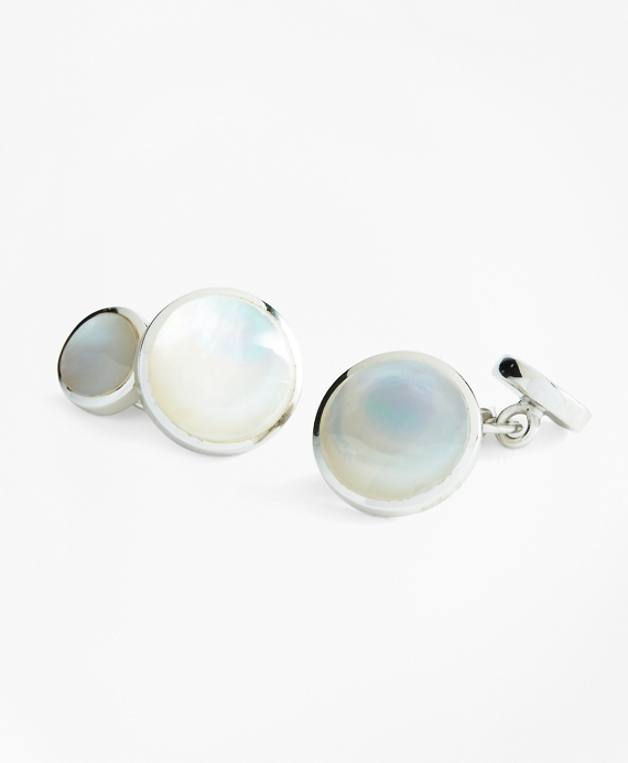 Mother-of-Pearl Cuff Links Silver