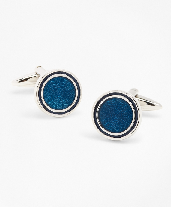 Blue Enamel Cuff Clinks Blue