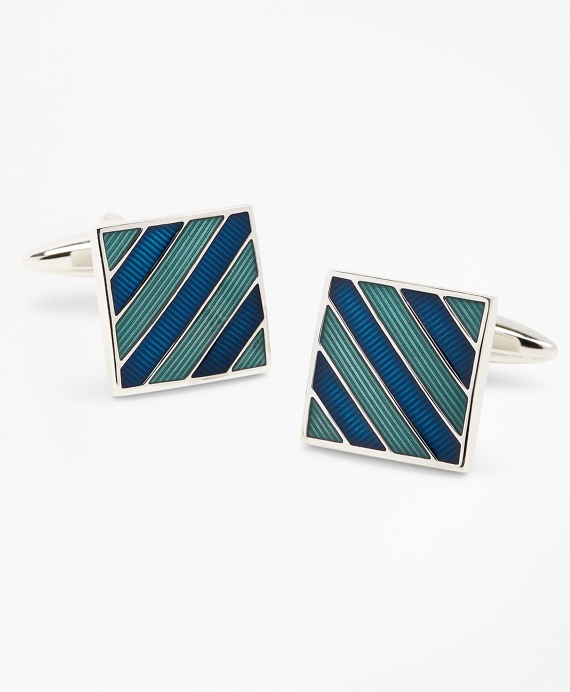 Argyle and Sutherland Stripe Enamel Cuff Links Blue-Green