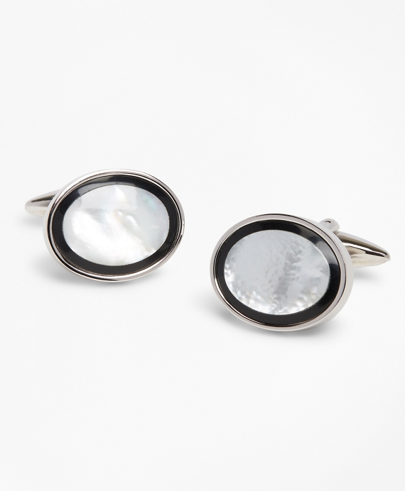 Mother-of-Peal Cuff Links Black-White-Silver