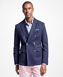Cotton Twill Double-Breasted Blazer