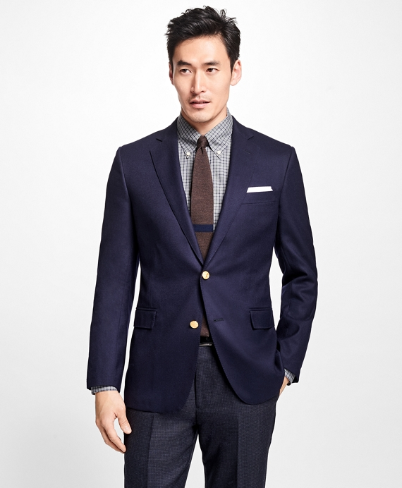 Regent Fit Doeskin Stretch Wool Blazer Navy
