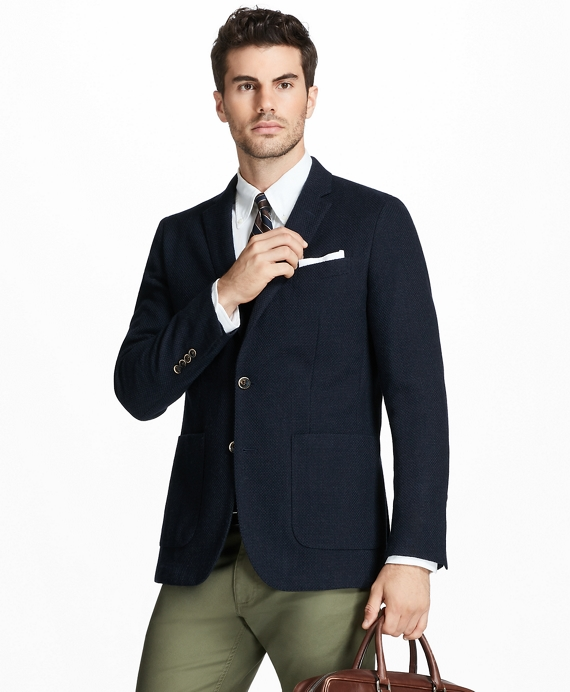 Milano Fit Two-Button Textured Blazer Navy