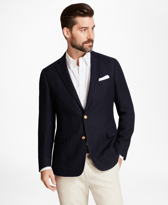 Regent Fit Textured Blazer Navy