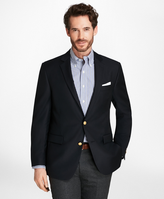Country Club Regent Fit Saxxon Wool Two-Button Blazer Navy