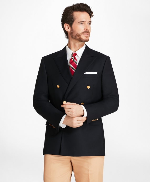 Country Club Regent Fit Saxxon Wool Double-Breasted Blazer Navy