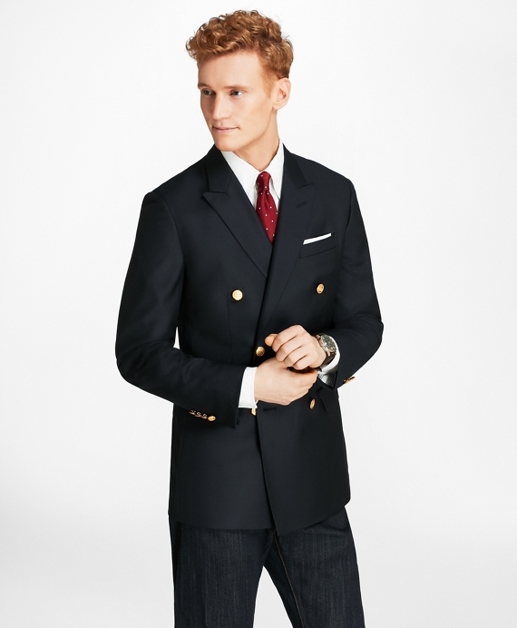 Country Club Milano Fit Saxxon Wool Double-Breasted Blazer Navy