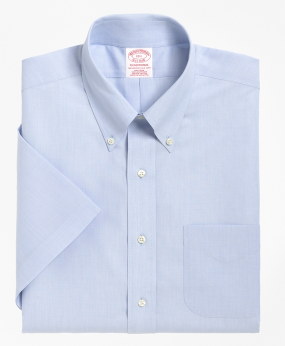 Non-Iron Traditional Fit Short-Sleeve Dress Shirt Light Blue