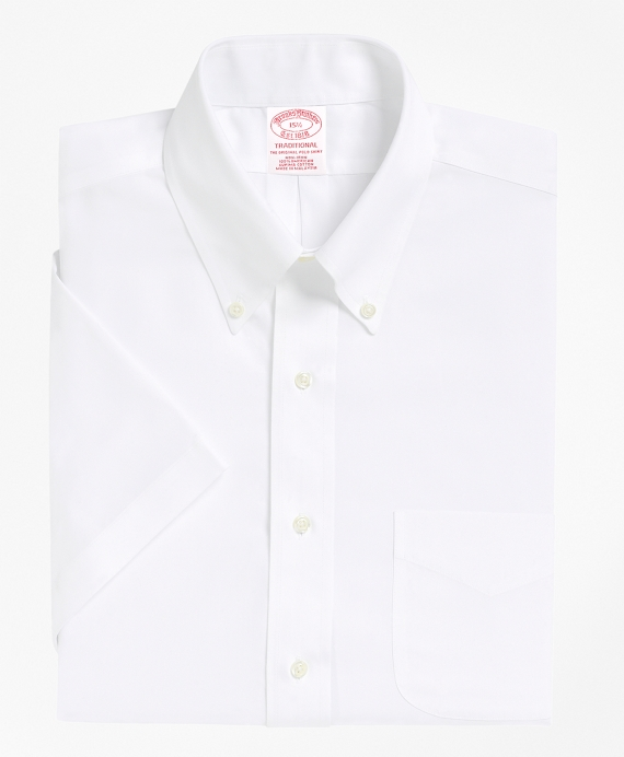 Non-Iron Traditional Fit Short-Sleeve Dress Shirt White