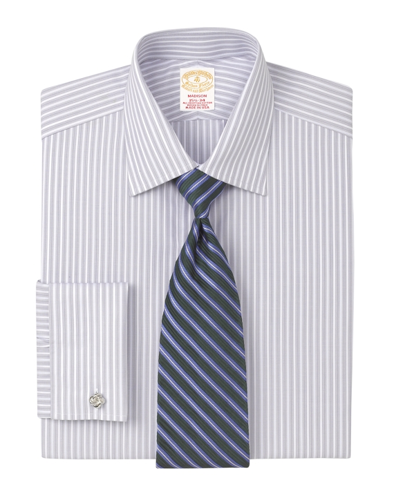 Golden Fleece® Madison Fit Micro Herringbone Stripe French Cuff Dress Shirt Grey