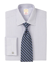 Golden Fleece® Madison Fit Micro Herringbone Stripe French Cuff Dress Shirt