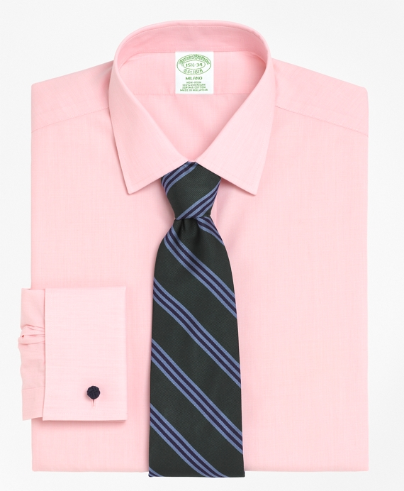 Non-Iron Milano Fit Spread Collar French Cuff Dress Shirt Pink