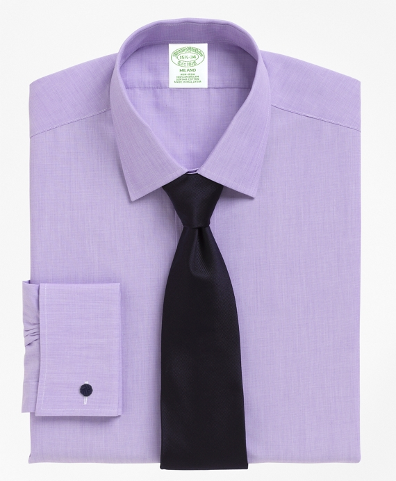 Non-Iron Milano Fit Spread Collar French Cuff Dress Shirt Purple