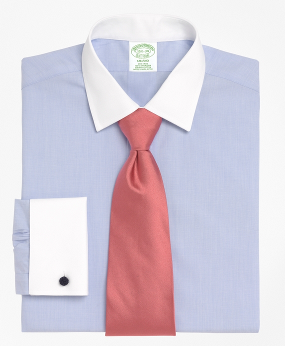 Milano Slim-Fit Dress Shirt, Non-Iron Contrast Ainsley Collar French Cuff Light Blue