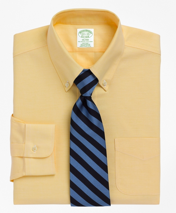 Non-Iron Milano Fit BrooksCool® Button-Down Collar Dress Shirt Yellow