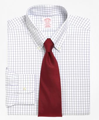 Non-Iron Madison Fit Windowpane Dress Shirt