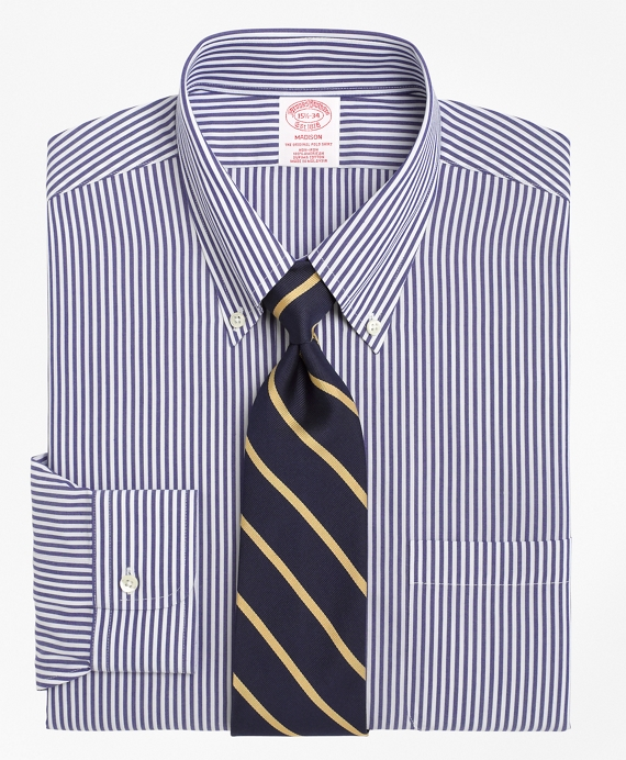 Non-Iron Madison Fit Bengal Stripe Dress Shirt Dark Blue