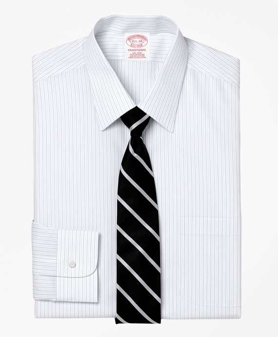 Non-Iron Traditional Fit Thick and Thin Stripe Dress Shirt Grey
