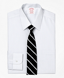 Non-Iron Traditional Fit Thick and Thin Stripe Dress Shirt