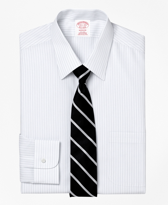 Non-Iron Madison Fit Thick and Thin Stripe Dress Shirt Grey