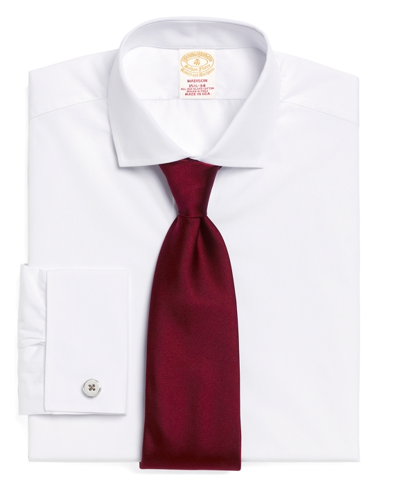 Golden Fleece® Madison Fit Micro Check French Cuff  Dress Shirt White