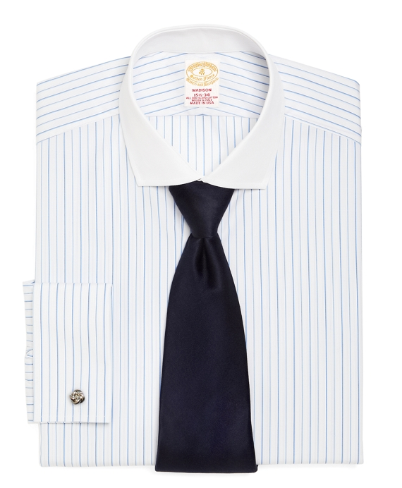 Golden Fleece® Madison Fit Alternating Stripe French Cuff Dress Shirt White