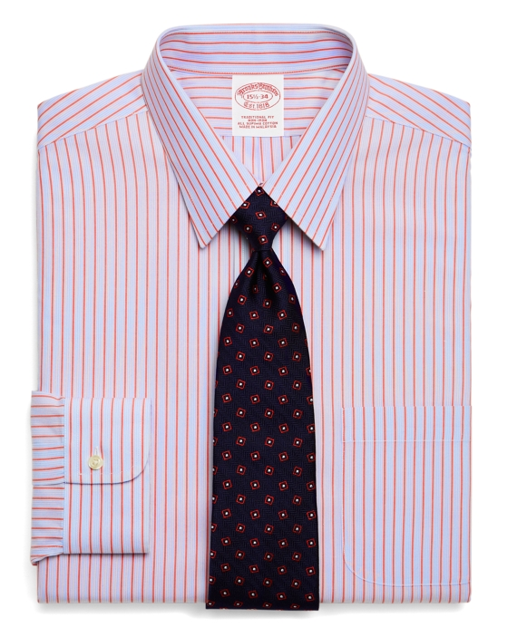 Supima® Cotton Non-Iron Traditional Fit Alternating Quad Stripe Dress Shirt Light Blue-Red