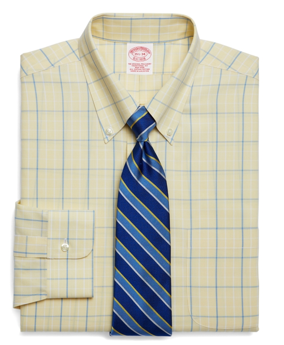 Supima® Cotton Non-Iron Traditional Fit Ground Plaid with Deco Dress Shirt Yellow-Light Blue