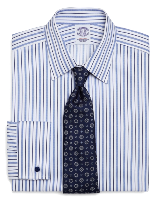 Egyptian Cotton Extra-Slim Fit Alternating Hairline Stripe Luxury French Cuff Dress Shirt Blue