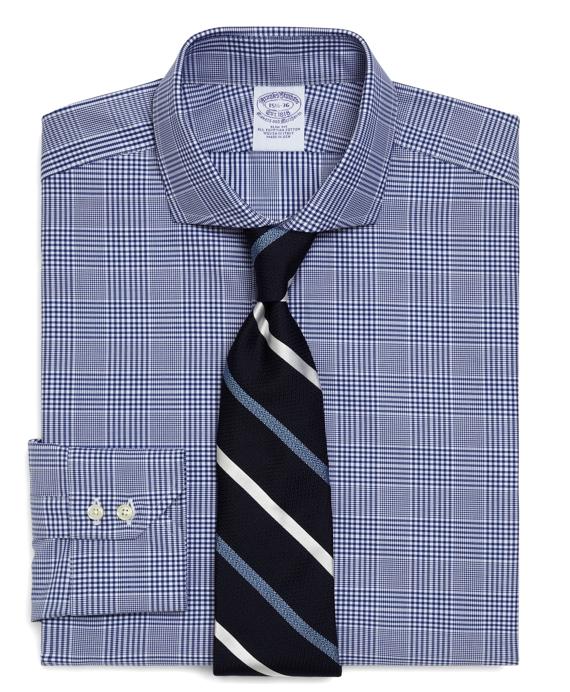 Egyptian Cotton Slim Fit Glen Plaid Luxury Dress Shirt Blue