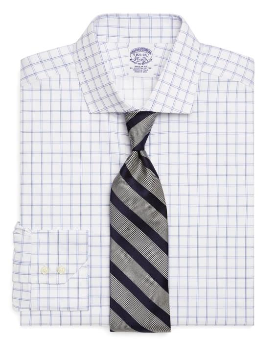 Egyptian Cotton Regular Fit Alternating Check Luxury Dress Shirt Blue