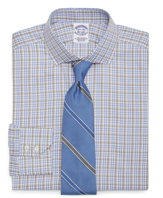 Egyptian Cotton Extra-Slim Fit Twill Plaid Overcheck Luxury Dress Shirt Light Blue