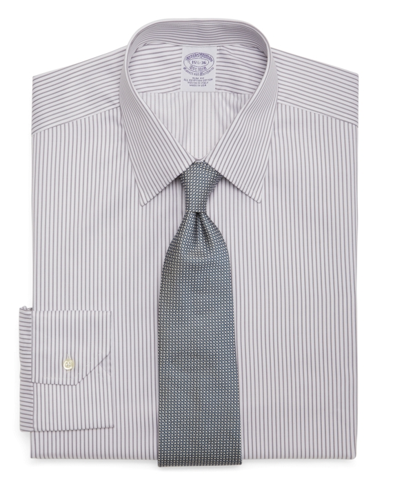 Egyptian Cotton Slim Fit Twill Pencil Stripe Luxury Dress Shirt Grey