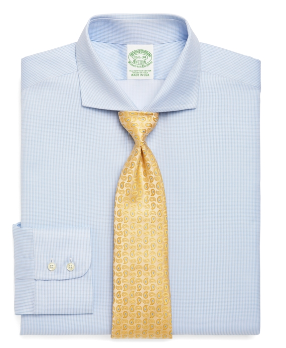 Egyptian Cotton Extra-Slim Fit Micro Check Luxury Dress Shirt Light Blue