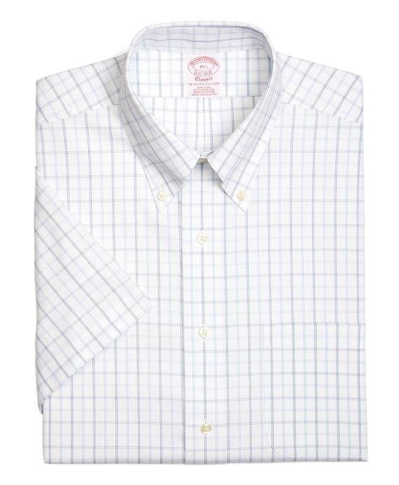 Supima® Cotton Non-Iron Traditional Fit Dotted Tattersall Short-Sleeve Pinpoint Dress Shirt White-Blue
