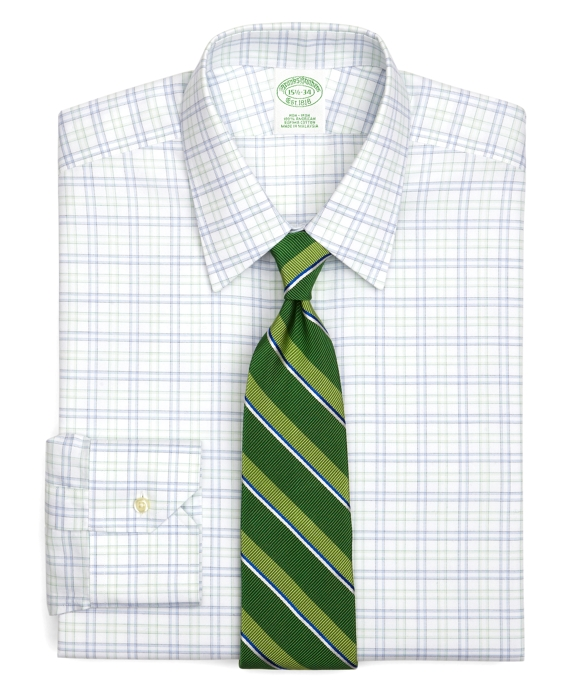 Supima® Cotton Non-Iron Extra-Slim Fit Triple Tattersall Twill Luxury Dress Shirt Green-Blue