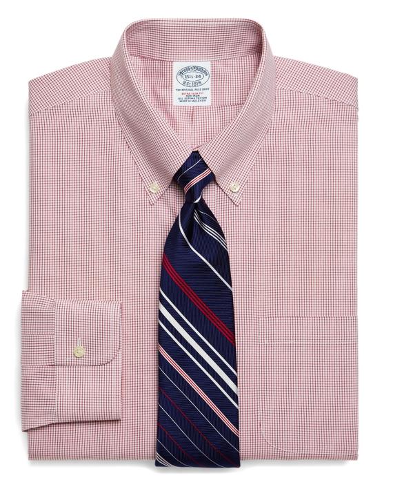 Supima® Cotton Non-Iron Extra-Slim Fit Check Dress Shirt Red