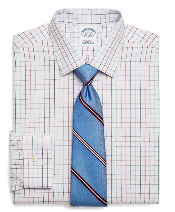 Supima® Cotton Non-Iron Extra-Slim Fit Triple Windowpane Dress Shirt Blue