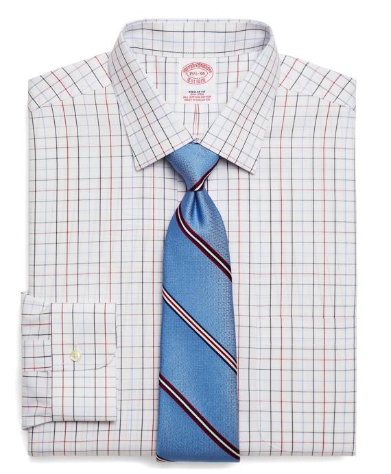 Supima® Cotton Non-Iron Regular Fit Triple Windowpane Dress Shirt Blue
