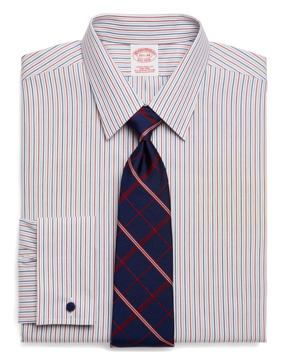 Supima® Cotton Non-Iron Traditional Fit Alternate Stripe French Cuff Dress Shirt Blue