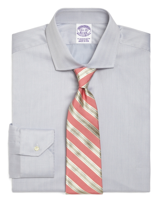 Egyptian Cotton Regular Fit Solid Herringbone Luxury Dress Shirt Grey