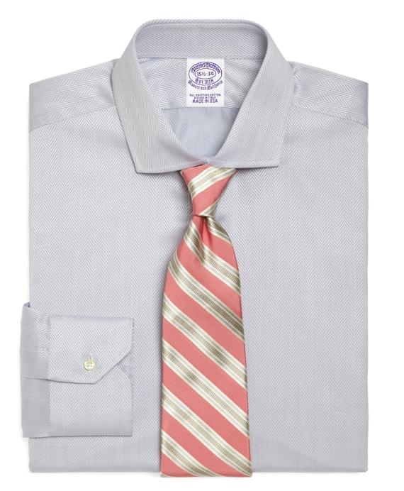 Egyptian Cotton Regular Fit Solid Herringbone Luxury Dress Shirt Grey