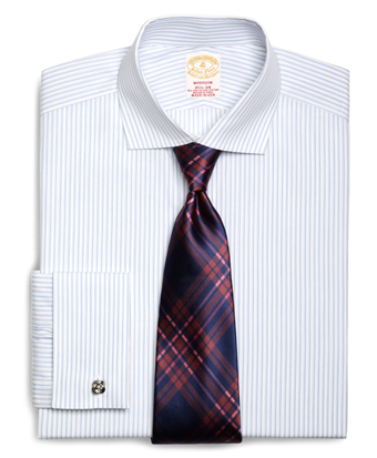 Golden Fleece® Madison Fit French Cuff Dotted Sidewheeler Stripe Dress Shirt