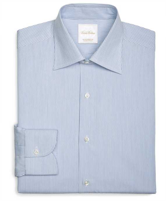 Twin Stripe Woven Dress Shirt Light Blue