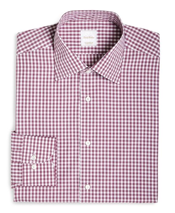 Gingham Woven Dress Shirt Pink