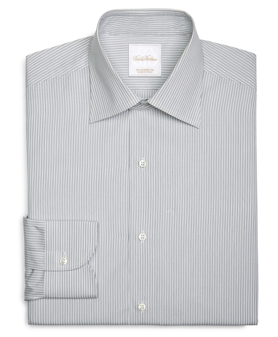 Framed Hairline Stripe Woven Dress Shirt Grey