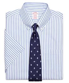 Non-Iron Regular Fit Framed Split Stripe Short-Sleeve Dress Shirt