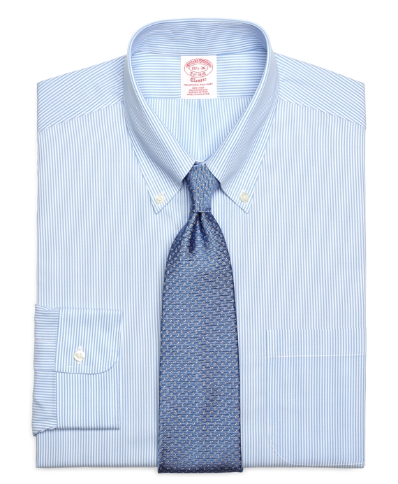 Non-Iron Traditional Fit  Candy Stripe Dress Shirt Light Blue