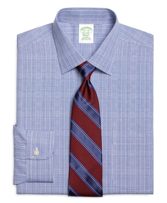 Non-Iron Extra-Slim Fit Glen Plaid Dress Shirt Blue