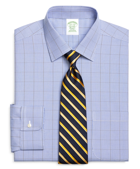 Non-Iron Extra-Slim Fit Houndstooth Overcheck Dress Shirt Blue